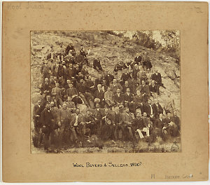 Group portrait of wool buyers and sellers, 1890?