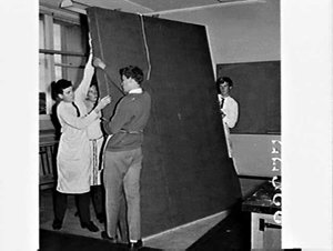 Asquith Boys' High School students working on displays for the Furniture Show 1966