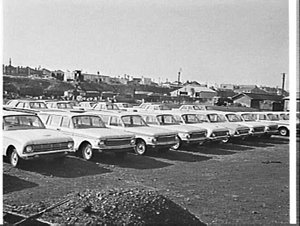New Ford Falcon station wagon, Cooks River Railway Yard