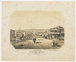 Views in Adelaide, no. 2: Hindley Street looking east / [drawn] on stone by S.T. Gill