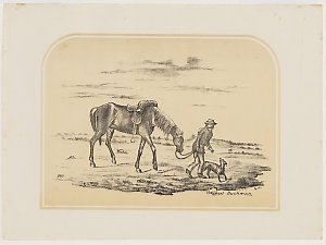 The Lost Bushman. [A view of a man and his horse and dog], 185-? / by E. C. May, probably after George Hamilton