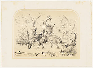 Australian Bushmen [a view of one mounted man waving to another with his stock whip and hat], 185-? / by E. C. May, probably after George Hamilton