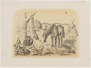 The Bushman. [A view of a seated man, with his horse and  dogs], 185-? / by E. C. May, probably after George Hamilton