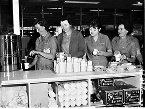 Lily cardboard disposable cups used in the canteen of the Avon cosmetics factory, Dee Why