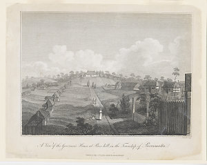 A view of the Governor's House at Rose Hill, in the township of Parramatta, 1798 / J. Heath