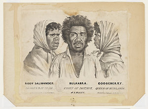Biddy Salmander, Broken-Bay tribe ; Bulkabra, Chief of Botany ; Gooseberry, Queen of Bungaree : N.S.Wales, ca. 1834 / drawn from life & on stone by Charles Rodius