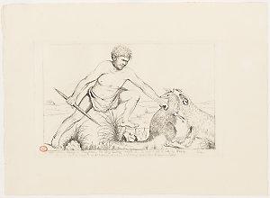 A Wild Native taking a Kangaroo, his Dog having caught it, he runs to kill it with his Waddy, 1836, printed 1930 / Benjamin Duterrau