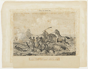 The Persecuting White Men [a view of a fight between two mounted white men and a group of aborigines, with the bodies of another white man, a horse and sheep on the ground and a burning house in the background], 18-- / by George Hamilton