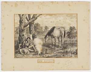 The Bushman [a view of a seated man, with his horse and dogs], 18-- / by George Hamilton