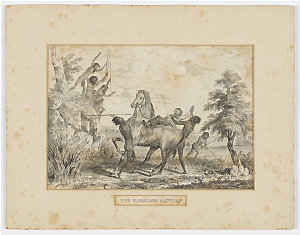 The Harmless Natives [a view of aborigines attacking a white man with spears and dragging him from his horse], 18-- / by George Hamilton