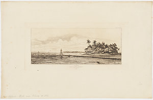 Oceanie, Ilots a Uvea, (Wallis), Peche aux Palmes, [a view, including the ship Rhin] / by Charles Meryon