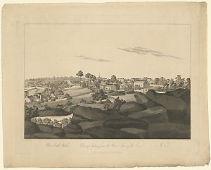 New South Wales, View of Sydney from the east side of the cove, no. 1-2, and View of Sydney from the west side of the Cove, no. 1-2, ca. 1808 / by John Eyre, engraved by Clark