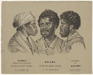 Punch, Ginn of Culaba, Broken-Bay Tribe. Culaba, Five Islands Tribe, N.S.Wales. Profile of Culaba, [portraits], 1834 / drawn from life and on stone by Charles Rodius