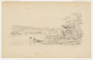 Residence of Dr. Bowman : taken near the Quarry, Woloomoloobay [i.e. Woolloomooloo Bay]