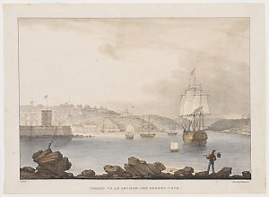 Coming to an anchor off Sydney Cove, [lithograph] / [drawn by] Augustus Earle; printed by C. Hullmandel, [1830]