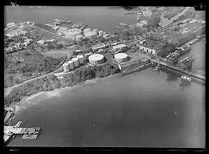 Item 29: Milton Kent aerial views of Vacuum Oil at Balls Head, Glebe Island, Newcastle, Port Kembla, Pulpit Point, Rose Hill, between 1942-1952