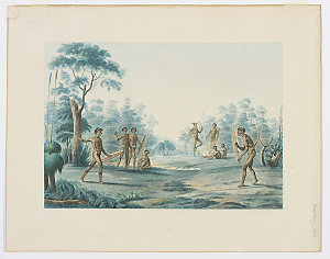 Print depicting formal Aboriginal combat scene from the time of the Baudin voyage, ca 1825