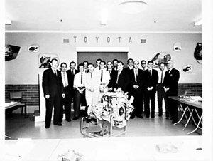 Thiess Bros. Toyota service conference with Japanese visitor, Rosebery