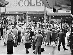 Pedestrians and buses, Hurstville shopping centre