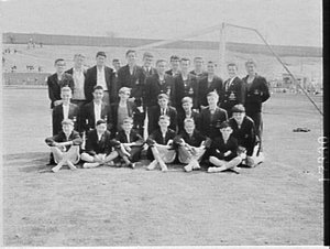 Unidentified school team, Combined High Schools athletics sports day, E.S. Marks Field