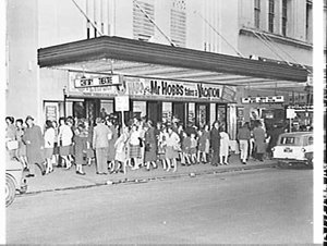 Exterior of the Century Theatre, 1962, advertising the film Mr. Hobbs takes a vacation
