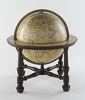 A new accurate, and compleat terrestrial globe, accompanying the Geographical Magazine : originally laid down by the late Mr James Ferguson F.R.S. / improved by G.Wright, and made by W. Bardin.