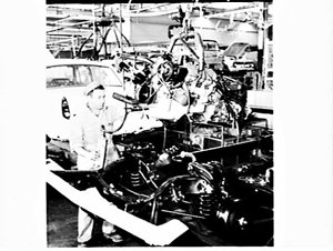 Interior of Ford factory for television advertisements