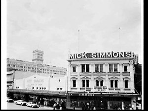 Facade of Mick Simmons sports store with Anthony Horderns department store in the background