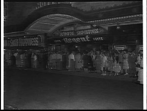 Exterior of Regent Theatre, 1958, advertising the film Inn of the sixth happiness