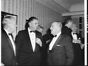 Prime Minister Menzies and Lord Mayor of Sydney Alderman Jensen attend a Chamber of Manufacturers' dinner, Hotel Australia