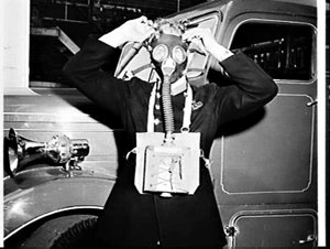 Protective gas mask for firemen, Fire Brigade Headquarters, Sydney