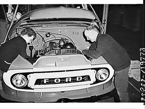 Assembling a Ford truck in the Auburn factory
