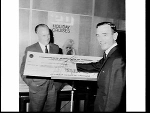 Women's Weekly World Discovery Tours cheque for $2,154,800 presented to P. & O. Lines