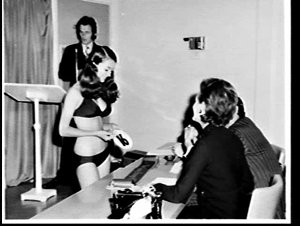 Judging the Miss Teen Scene NSW 1971 and the Miss Junior Teen NSW 1971 beauty contest, Waltons Department Store