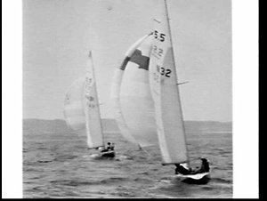 Two Scandinavian Gold Cup yachts, John B and Great (?) (containing Crown Prince Harald of Norway), sail on Broken Bay