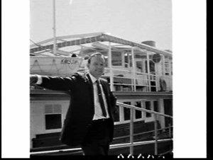 Mr. Byrne and the new ferry restaurant Lady Scott, Circular Quay