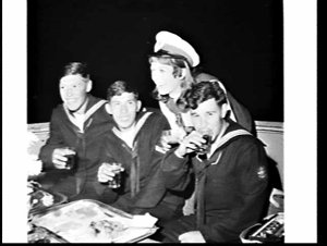 Sailors from the Argentine frigate Libertad on Mermaid Cruises (floating Harbour discotheque) celebration of their first anniversary with a party cruise for Christine Lewis, Miss Australia entrant