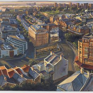 Panorama of Millers Point from top of Harbour Tower, 2014 / painted by Jane Bennett