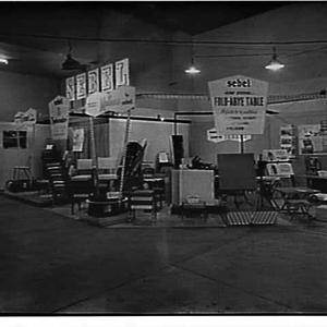 Sebel exhibit of folding and stackable chairs and tables at the Furniture Guild Exhibition 1960