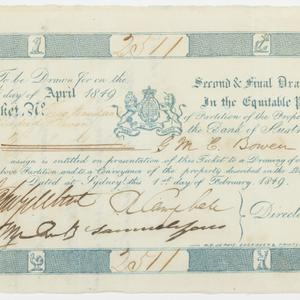 Item 645: Bank of Australia, ticket for partitioning lottery, five pounds, 1849