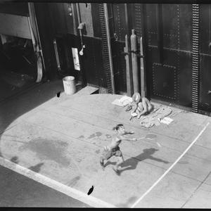 [Badminton court on HMS Implacable], May 1945