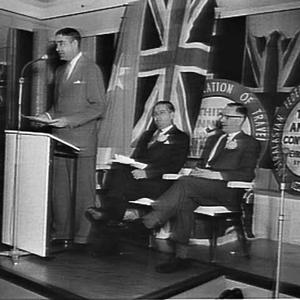 Murray Evans at the third Annual Convention of the Australasian Federation of Travel Agents, Chevron-Hilton Hotel, Sydney, 1960