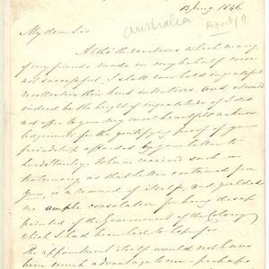 John William Croker - letter received from Marshall Waller Clifton, 13 January  1846