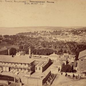[Panoramic view of the Royal Mint and Hyde Park Barracks taken from the steeple of St. James's Church, 1871]