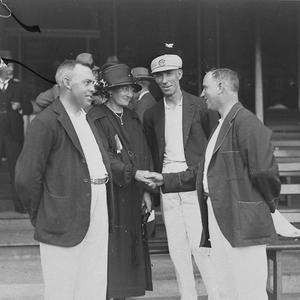 Cricketers meet a female supporter