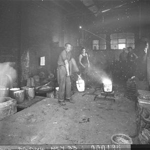 Interiors of a foundry, showing moulding shop (taken for L.J. Hooker Ltd)
