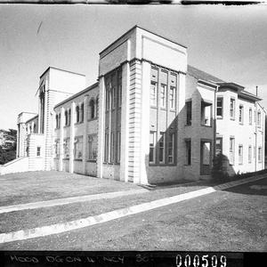 Oblique exterior view, Newington College Preparatory School (taken for Building Publishing Co)