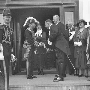 Governor General, Sir Isaac Isaacs, receive VIPs at Government House, Yarralumla [Parliament House ?]