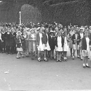Schoolchildren at Showground, at display for Coronation