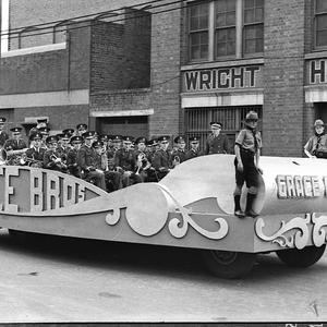 Floats in procession